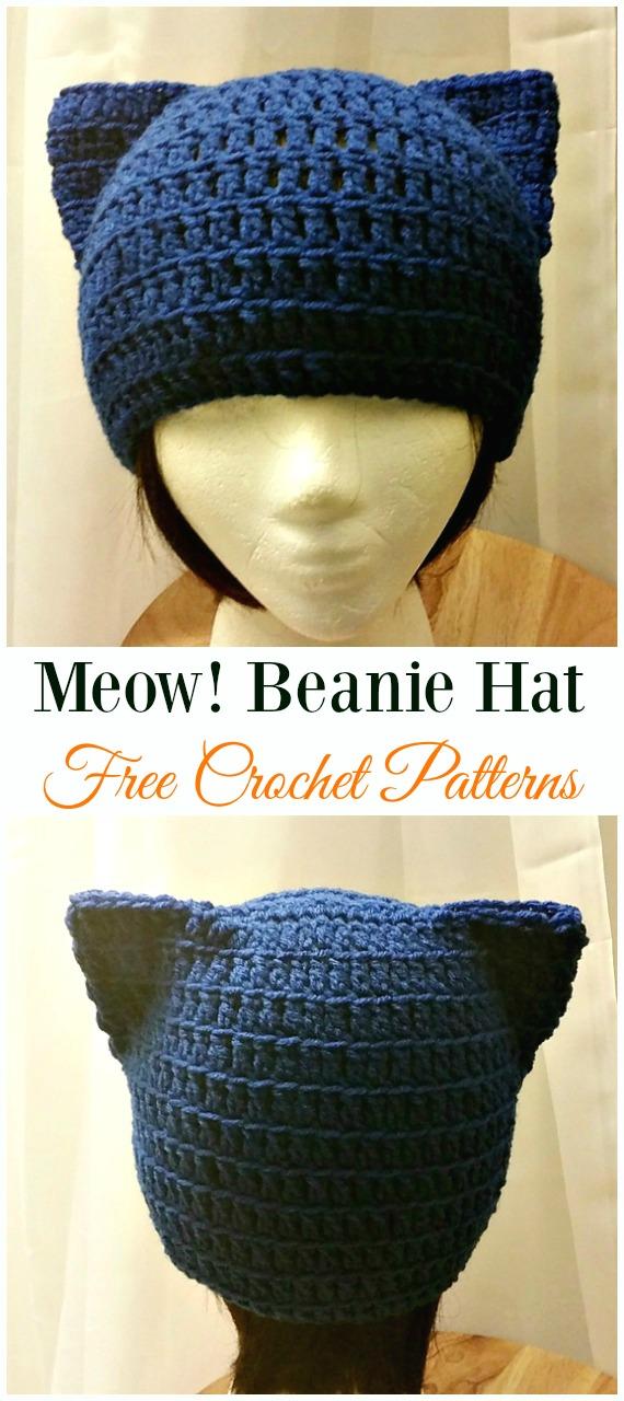 Meow! BeanieHatCrochet Free Pattern -Fun Adult Cat Hat Free Crochet Patterns