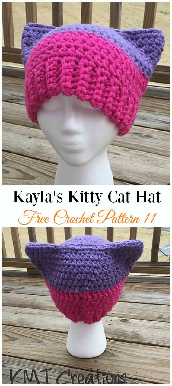 Kayla's Kitty Cat Hat Crochet Free Pattern -Fun Adult Cat Hat Free Crochet Patterns