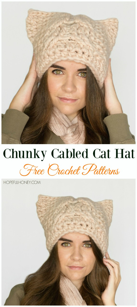 Chunky Cabled Cat Hat Crochet Free Pattern - Fun Adult Cat Hat Free Crochet Patterns