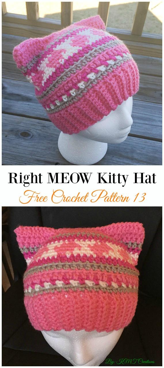 Right Meow Kitty Hat Crochet Free Pattern Fun Adult Cat Hat Free