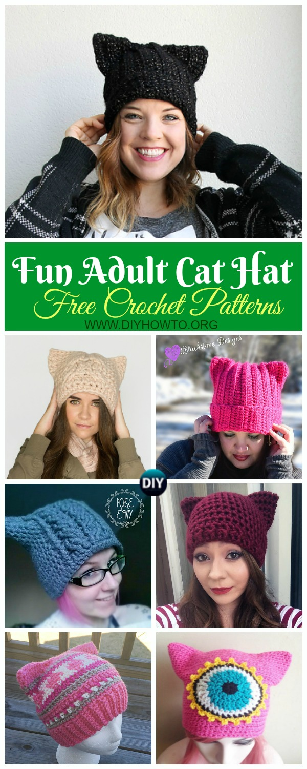 Collection of Fun Free Adult Cat Hat Crochet Patterns: Crochet Women/Adult Pussy Cat Hat, Beanie, Meow Hat, Basketweave, cabled and big eyed, ribbed, easy pattern