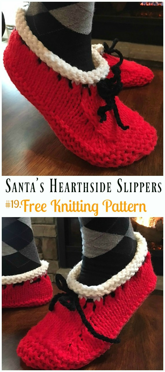 Santa's Hearthside Slippers Free Knitting Pattern - Adult #Slippers; Boots Free #Knitting; Patterns