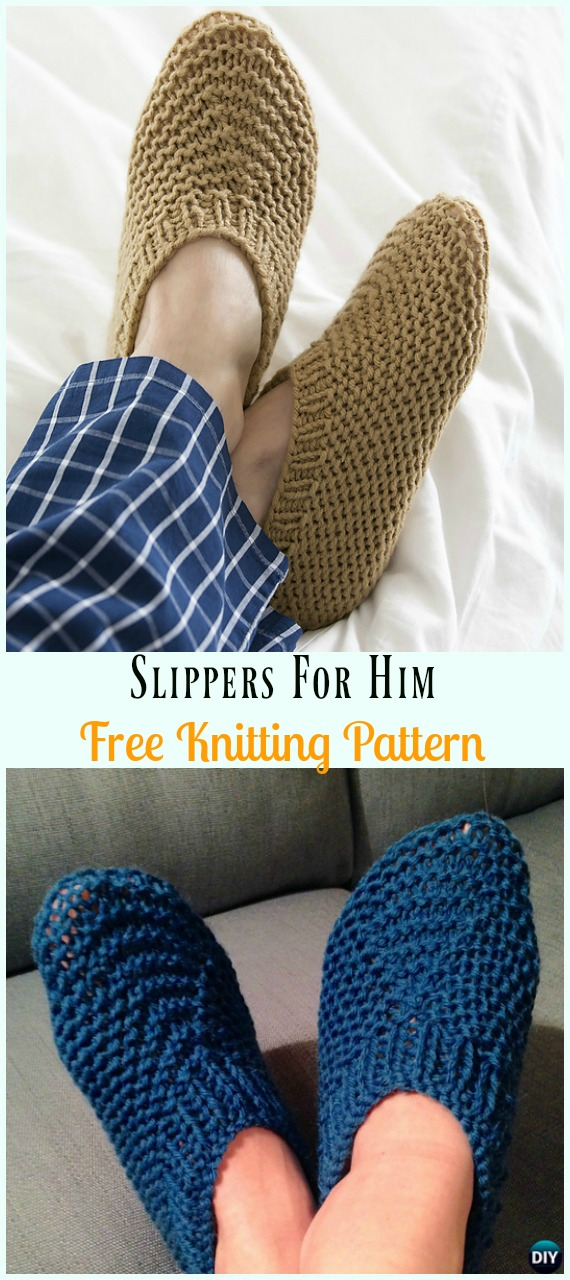 Slippers For Him Free Knitting Pattern - Adult #Slippers; Boots Free #Knitting; PatternsRed Heart