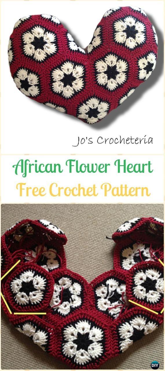 Crochet African Flower Heart Amigurumi Free Pattern- Amigurumi Crochet 3D Heart Free Patterns