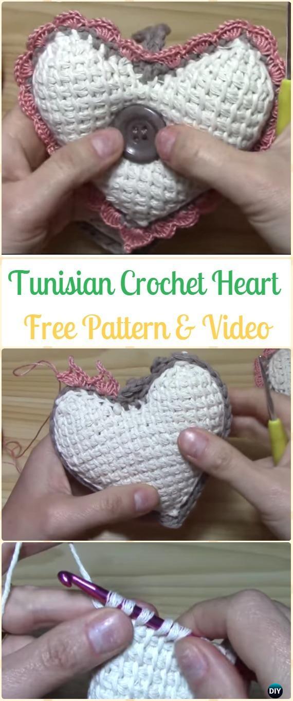 Tunisian Crochet Heart Amigurumi Free Pattern Video- Amigurumi Crochet 3D Heart Free Patterns