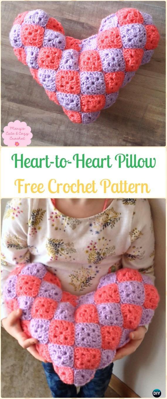 Crochet Heart-to-Heart Pillow Free Pattern Video- Amigurumi Crochet 3D Heart Free Patterns