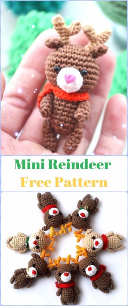 Crochet Mini Reindeer Free Pattern - migurumi Crochet Christmas Softies Toys Free Patterns
