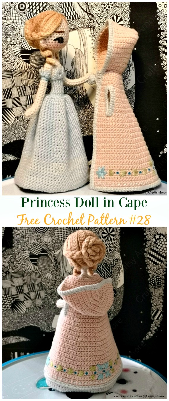 Crochet Princess Doll In Cape Amigurumi Free Pattern Crochet