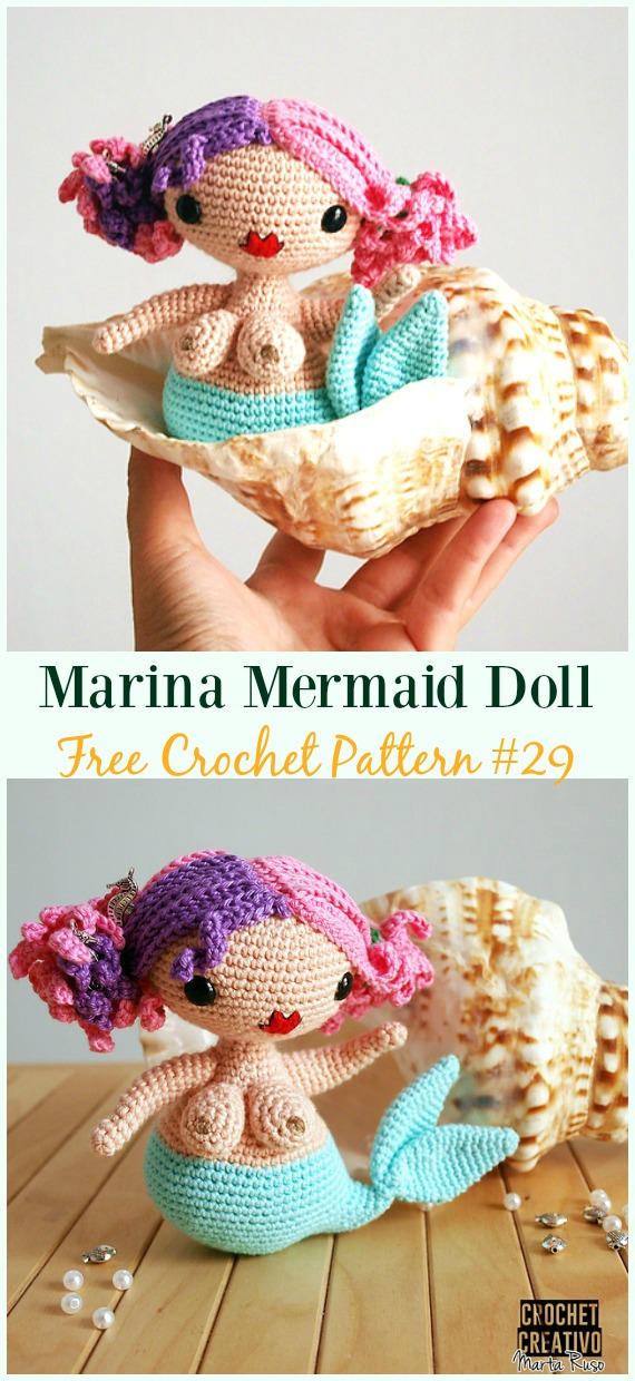 Crochet Marina Mermaid Doll Amigurumi Free Pattern Crochet Doll