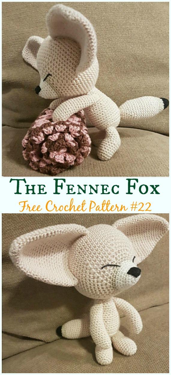 AmigurumiThe Fennec Fox Crochet Free Pattern -Crochet #Amigurumi; #Fox; Toy Softies Free Patterns