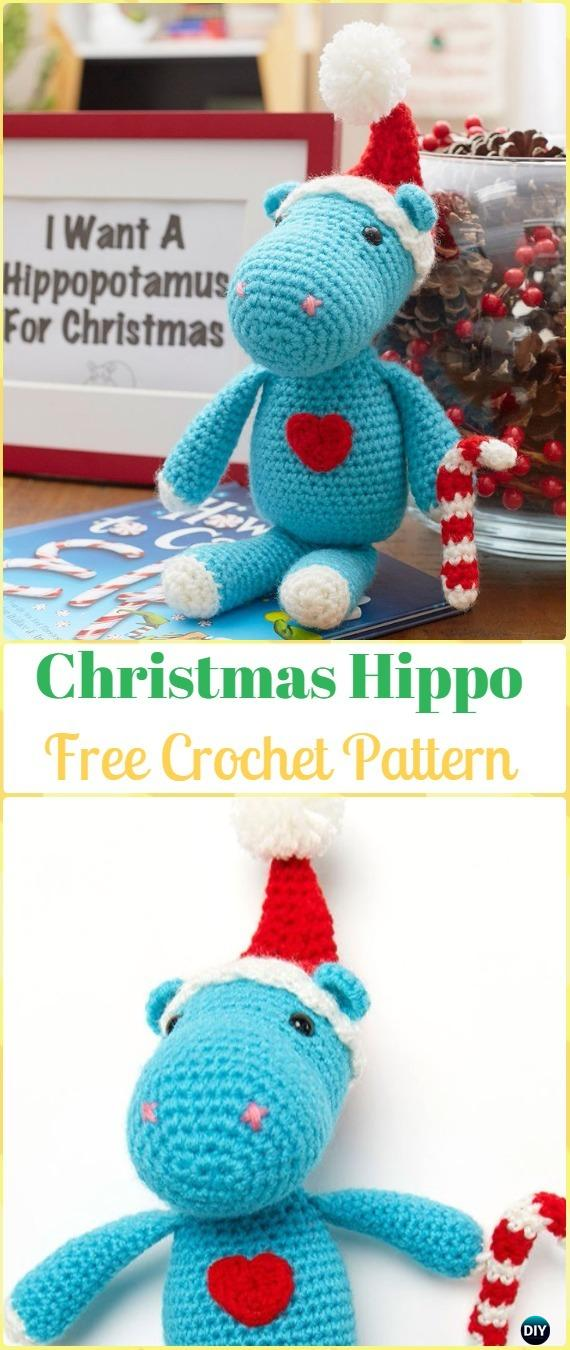 Crochet Amigurumi Christmas Hippo Free Pattern - Amigurumi Crochet Hippo Toy Softies Free Patterns