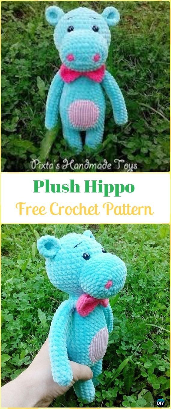 Crochet Amigurumi Plush Hippo Free Pattern - Amigurumi Crochet Hippo Toy Softies Free Patterns