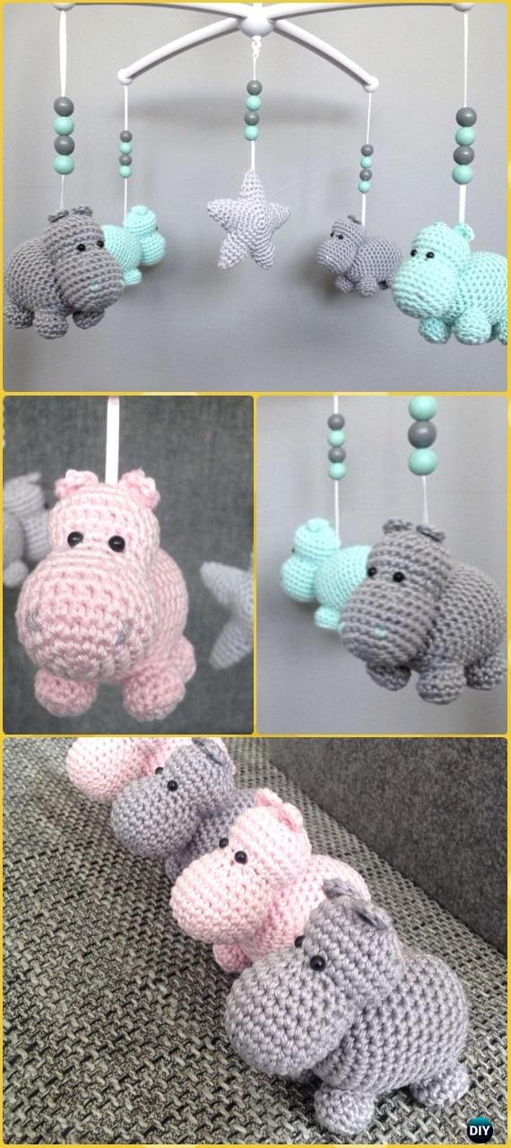 Crochet Amigurumi Hippo Mobile Free Pattern - Amigurumi Crochet Hippo Toy Softies Free Patterns