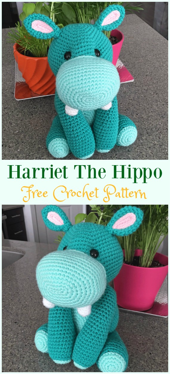 Crochet Amigurumi Harriet The Hippo Free Pattern - #Amigurumi; Crochet #Hippo; Toy Softies Free Patterns