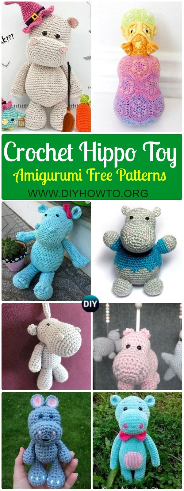 Amigurumi Crochet Hippo Toy Softies Free Patterns & Instructions