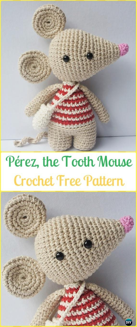 Crochet Pérez the Tooth Mouse Amigurumi Free Pattern - Amigurumi Crochet Mouse Toy Softies Free Patterns