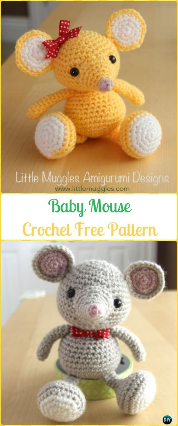 Crochet Baby Mouse Amigurumi Free Pattern - Amigurumi Crochet Mouse Toy Softies Free Patterns