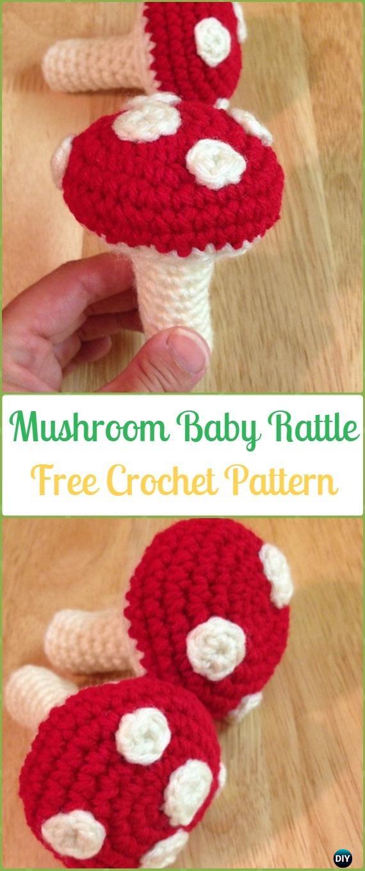Crochet Mushroom Baby Rattle Amigurumi Free Pattern - Amigurumi Crochet Mushroom Softies Free Patterns
