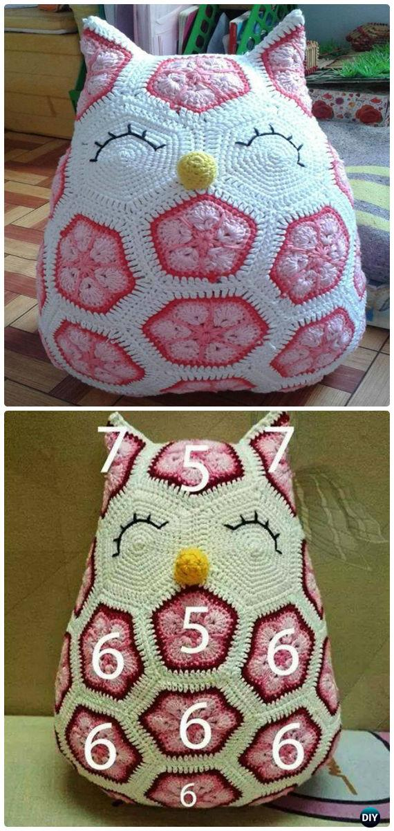 Crochet African Hexagone Flower Owl Free Pattern-Amigurumi Crochet Owl Free Patterns