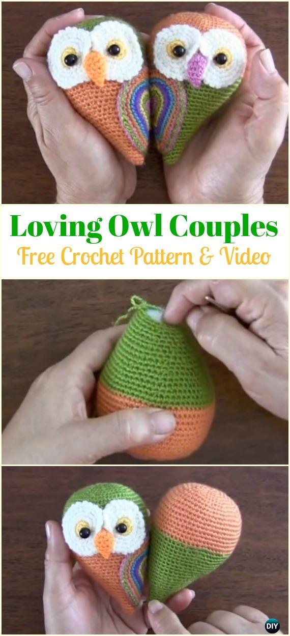Crochet Owl Couple Free Pattern&Video -Amigurumi Crochet Owl Free Patterns