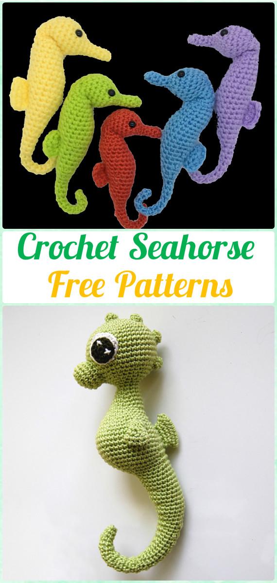 Crochet Amigurumi Seahorse Free Pattern - Amigurumi Crochet Sea Creature Animal Toy Free Patterns