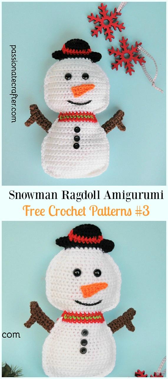 Snowman Ragdoll AmigurumiCrochet Free Pattern - #Amigurumi; Crochet #Snowman; Softies Toys Free Patterns