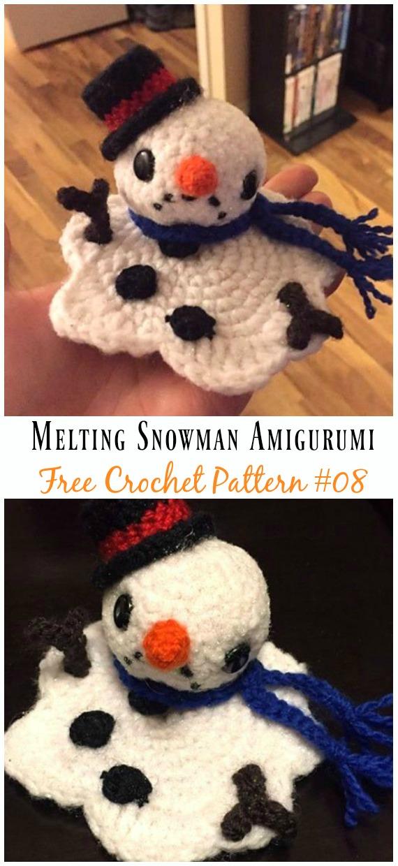 Melting Snowman AmigurumiCrochet Free Pattern - #Amigurumi; Crochet #Snowman; Softies Toys Free Patterns