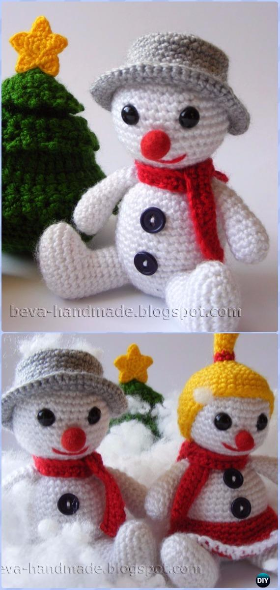 Crochet Snowman Softies Toys Free Patterns