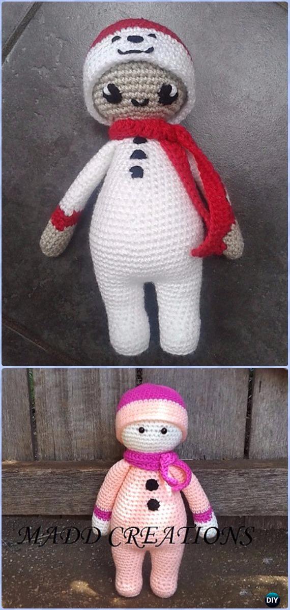Crochet Noo Noo Doll in Snowman Costume Free Pattern - Amigurumi Crochet Snowman Stuffies Toys Free Patterns