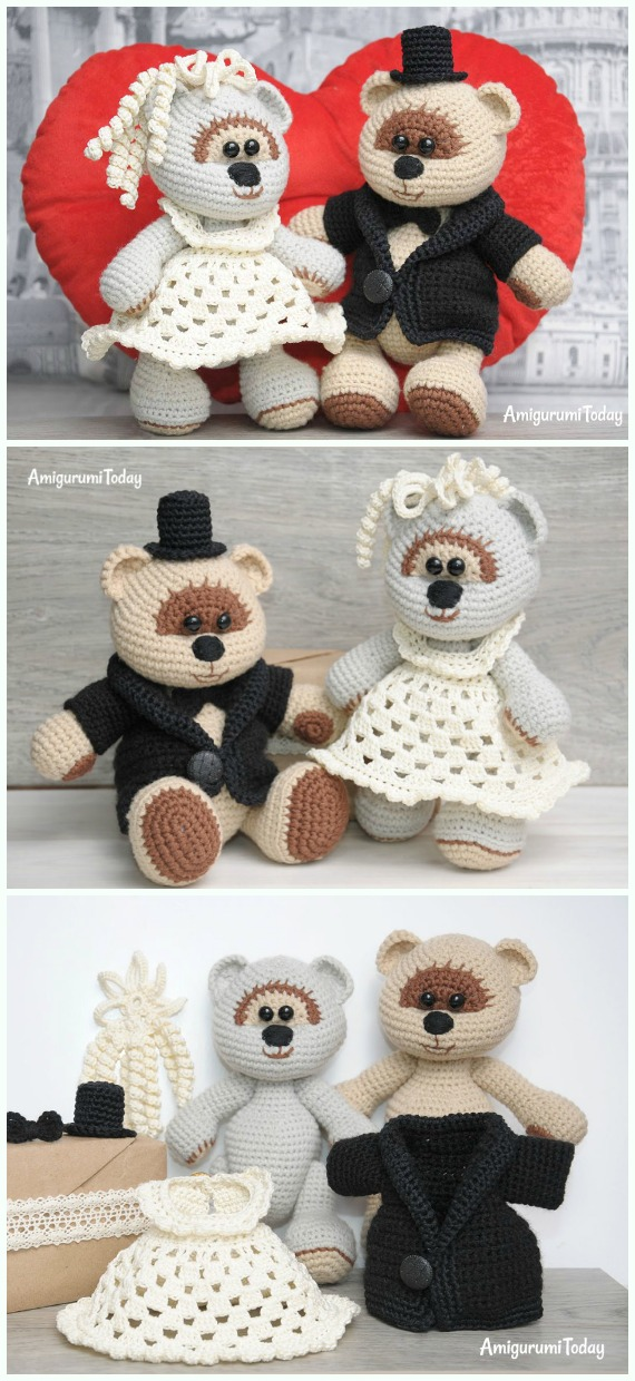 Amigurumi Wedding Teddy Bear Free Crochet Pattern - #Amigurumi; Crochet Teddy #Bear; Free Patterns