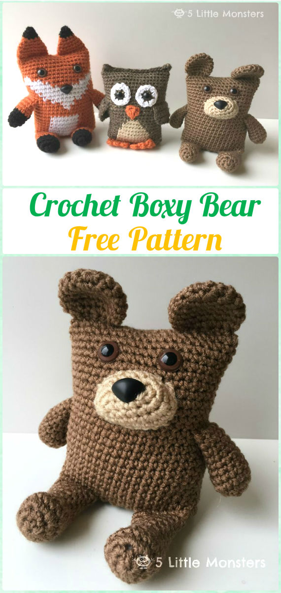 Amigurumi Crochet Boxy Bear Free Pattern - Amigurumi Crochet Teddy Bear Toys Free Patterns