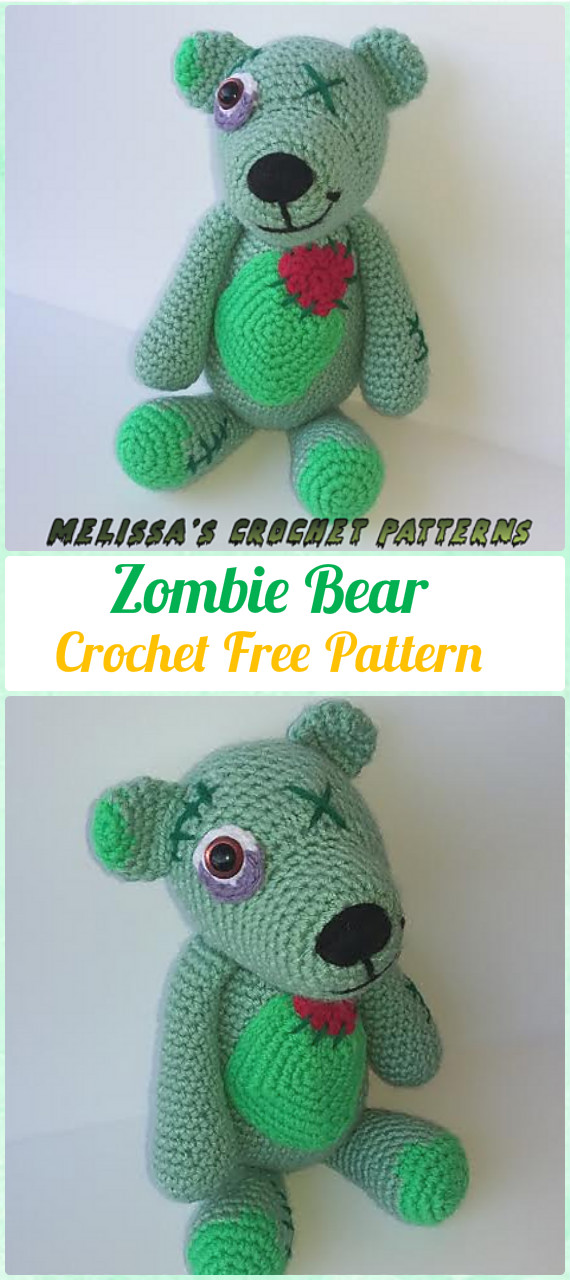 Amigurumi Crochet Zombie Bear Free Pattern - Amigurumi Crochet Teddy Bear Toys Free Patterns
