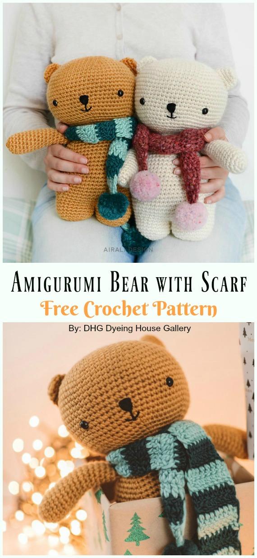 Amigurumi Bear with Scarf Free Crochet Pattern - #Amigurumi; Crochet Teddy #Bear; Free Patterns