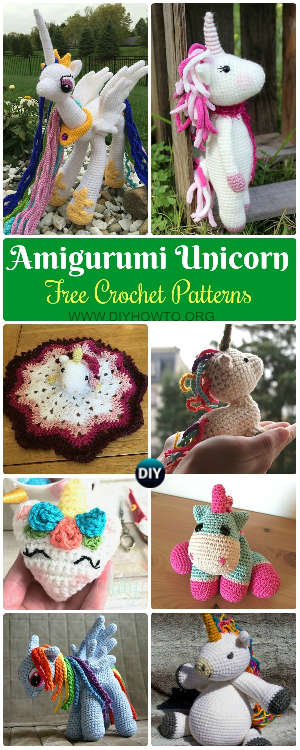 Collection of Amigurumi Crochet Unicorn Toy Softies Free Patterns: My little Pony, Crochet Unicorn Plushies, Crochet Alicorn, Ragdoll Unicorn, Kids Unicorn Toy Gifts