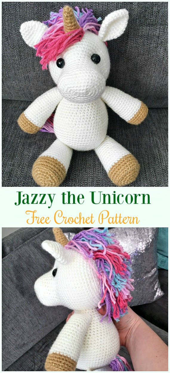 Crochet Jazzy the Unicorn Amigurumi Free Pattern- #Amigurumi Crochet #Unicorn; Toy Softies Patterns