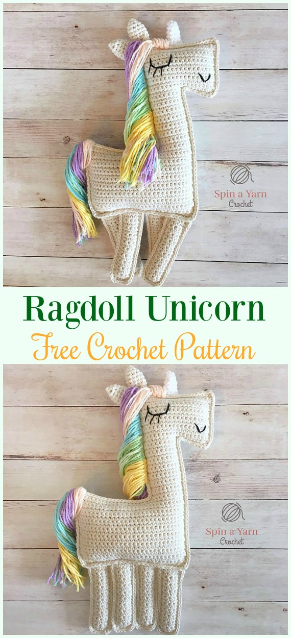 Crochet Ragdoll Unicorn Amigurumi Free Pattern- #Amigurumi Crochet #Unicorn; Toy Softies Patterns