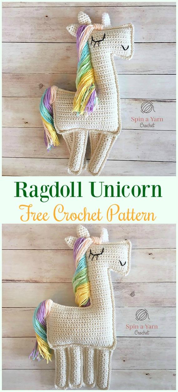 Crochet Ragdoll Unicorn Amigurumi Free Pattern-#Amigurumi Crochet #Unicorn; Toy Softies Patterns