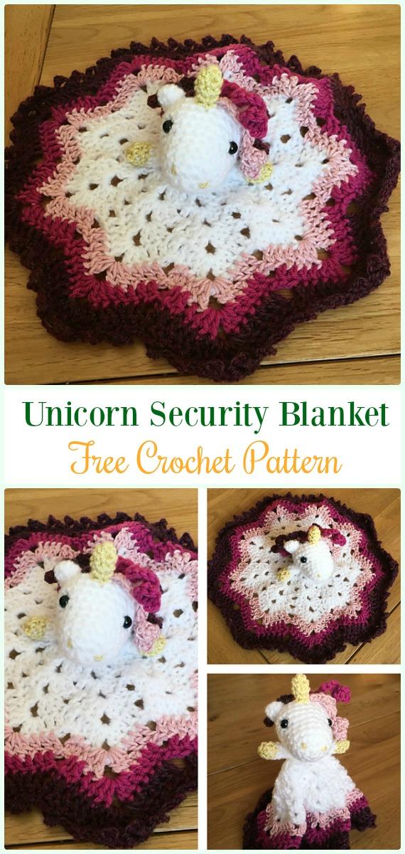Crochet Unicorn Security Blanket Amigurumi Free Pattern-#Amigurumi Crochet #Unicorn; Toy Softies Patterns