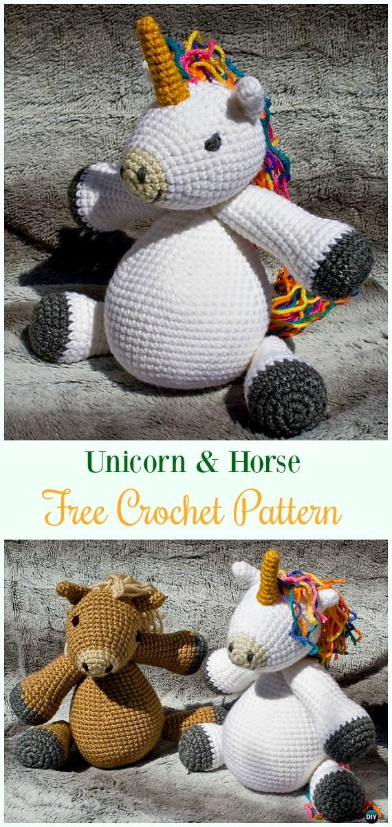 Crochet Unicorn & Horse Amigurumi Free Pattern- #Amigurumi Crochet #Unicorn; Toy Softies Patterns