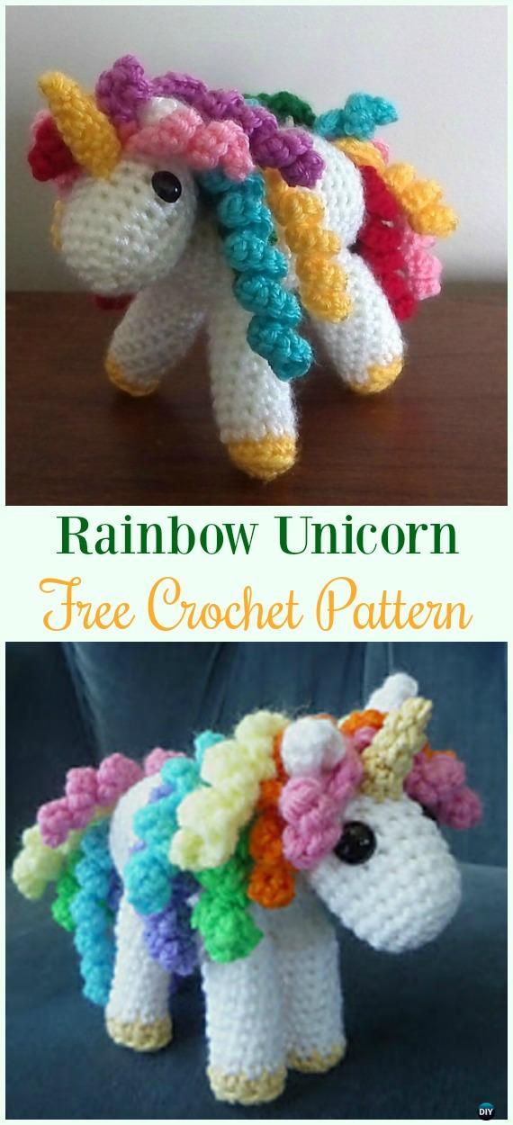 Crochet Rainbow UnicornAmigurumi Free Pattern-#Amigurumi Crochet #Unicorn; Toy Softies Patterns
