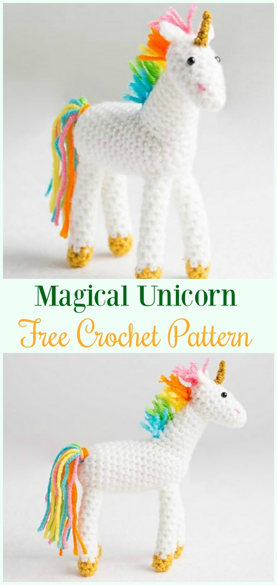 Crochet Magical Unicorn Amigurumi Free Pattern-#Amigurumi Crochet #Unicorn; Toy Softies Patterns