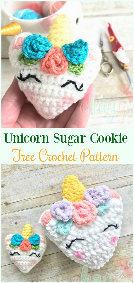 Crochet Unicorn Sugar Cookie Amigurumi Free Pattern- #Amigurumi Crochet #Unicorn; Toy Softies Patterns