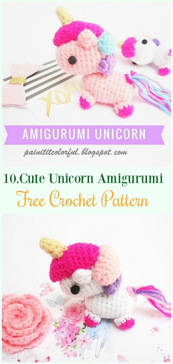 Crochet Cute Unicorn Amigurumi Free Pattern- #Amigurumi Crochet #Unicorn; Toy Softies Patterns