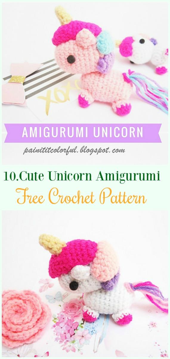 Crochet Cute Unicorn Amigurumi Free Pattern-#Amigurumi Crochet #Unicorn; Toy Softies Patterns