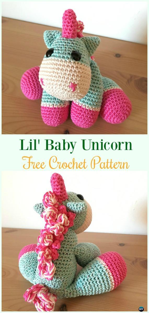 Crochet Lil' Baby UnicornAmigurumi Free Pattern-#Amigurumi Crochet #Unicorn; Toy Softies Patterns