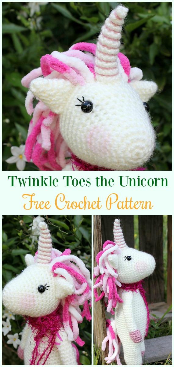 Crochet Twinkle Toes the Unicorn Amigurumi Free Pattern-#Amigurumi Crochet #Unicorn; Toy Softies Patterns