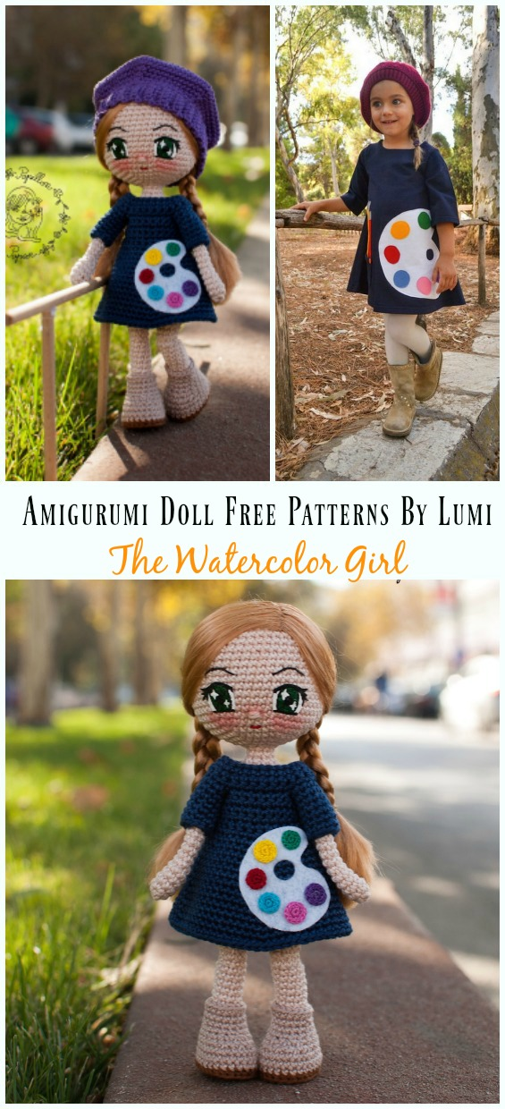 Amigurumi The Watercolor Girl - Amigurumi Doll Softies Crochet Free Patterns By Lumi