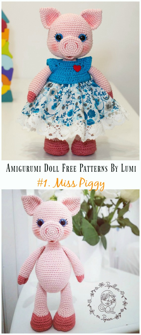 Amigurumi Miss Piggy Crochet Free Pattern - Amigurumi Doll Softies Crochet Free Patterns By Lumi
