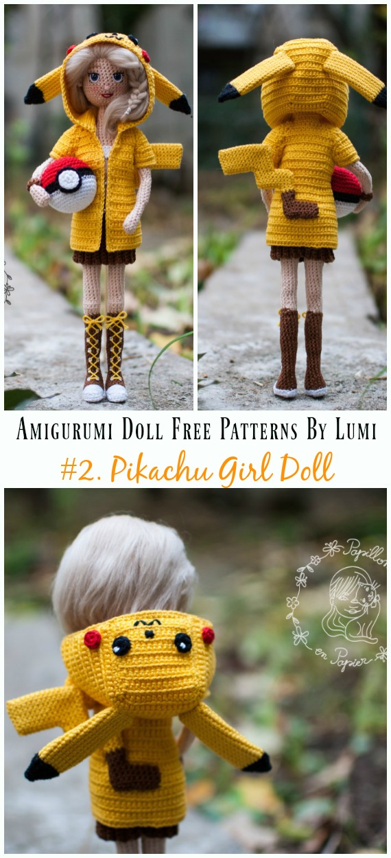 Amigurumi Pikachu Girl Doll Crochet Free Pattern - Amigurumi Doll Softies Crochet Free Patterns By Lumi