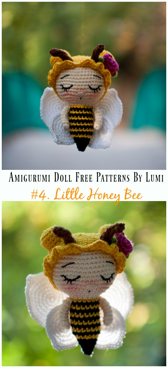 Amigurumi Little Honey Bee Crochet Free Pattern - Amigurumi Doll Softies Crochet Free Patterns By Lumi